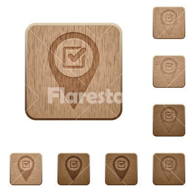 Checkpoint GPS map location wooden buttons - Checkpoint GPS map location on rounded square carved wooden button styles