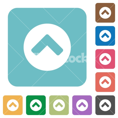 Chevron Up Rounded Square Flat Icons Stock Vector Flarestock