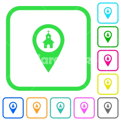 Church GPS map location vivid colored flat icons - Church GPS map location vivid colored flat icons in curved borders on white background