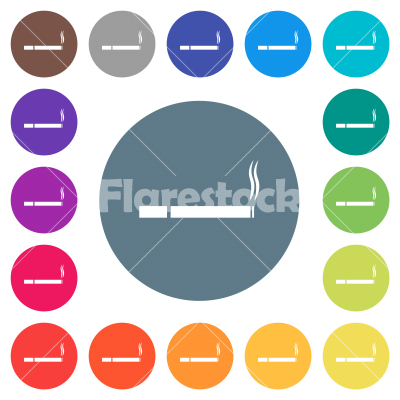 Cigarette flat white icons on round color backgrounds - Cigarette flat white icons on round color backgrounds. 17 background color variations are included.