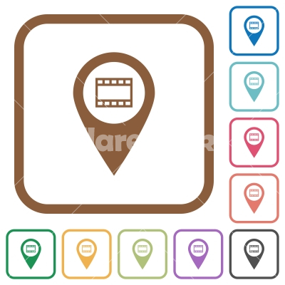 Cinema GPS map location simple icons - Cinema GPS map location simple icons in color rounded square frames on white background