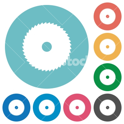Circular saw flat round icons - Circular saw flat white icons on round color backgrounds