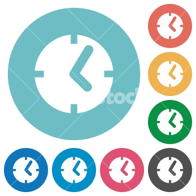 Clock flat icons - Clock white flat icons on color rounded square backgrounds - Free stock vector