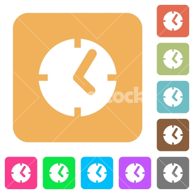 Clock rounded square flat icons - Clock flat icons on rounded square vivid color backgrounds.