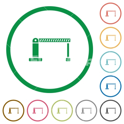 Closed barrier flat icons with outlines - Closed barrier flat color icons in round outlines on white background