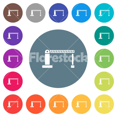 Closed barrier flat white icons on round color backgrounds - Closed barrier flat white icons on round color backgrounds. 17 background color variations are included.
