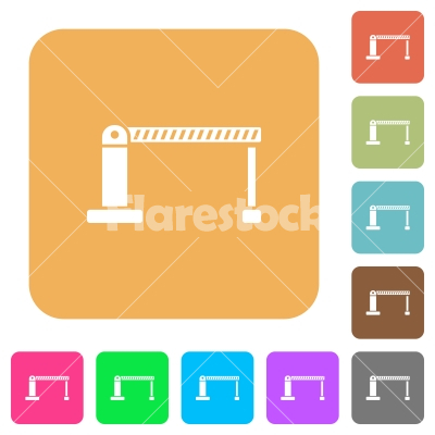 Closed barrier rounded square flat icons - Closed barrier flat icons on rounded square vivid color backgrounds.