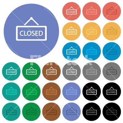 Closed sign round flat multi colored icons - Closed sign multi colored flat icons on round backgrounds. Included white, light and dark icon variations for hover and active status effects, and bonus shades on black backgounds.