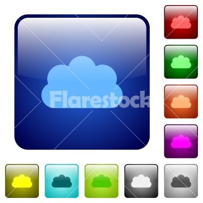 Cloud color square buttons - Cloud icons in rounded square color glossy button set