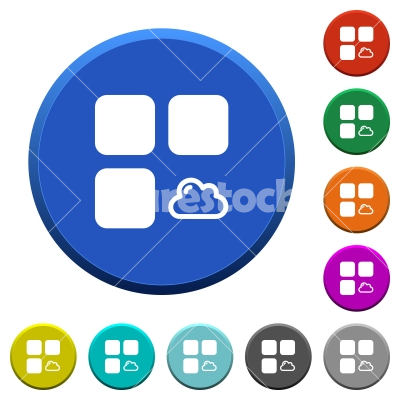 Cloud component beveled buttons - Cloud component round color beveled buttons with smooth surfaces and flat white icons