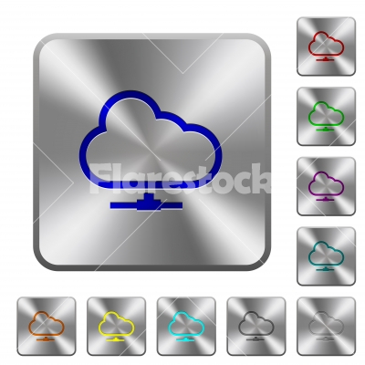 Cloud network rounded square steel buttons - Cloud network engraved icons on rounded square glossy steel buttons