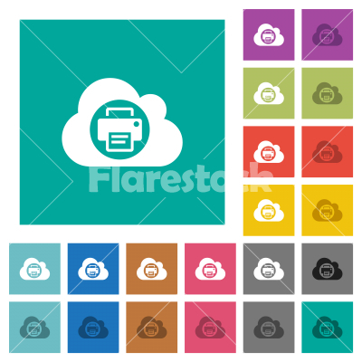 Cloud printing square flat multi colored icons - Cloud printing multi colored flat icons on plain square backgrounds. Included white and darker icon variations for hover or active effects.