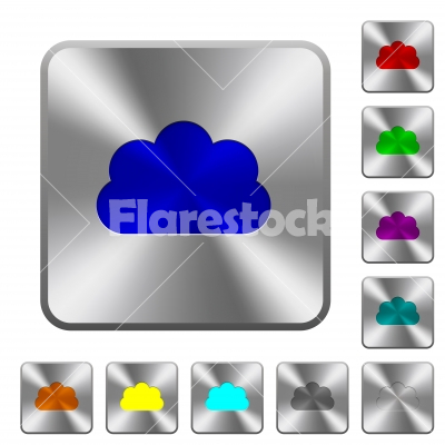 Cloud rounded square steel buttons - Cloud engraved icons on rounded square glossy steel buttons