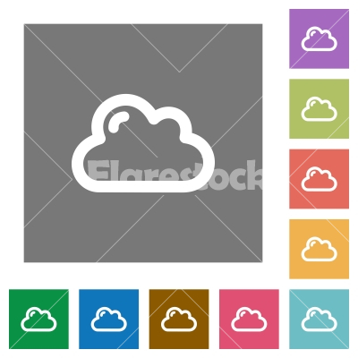 Cloud square flat icons - Cloud flat icon set on color square background.