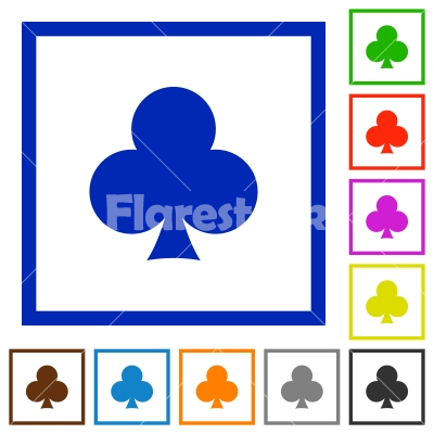 Club card symbol flat framed icons - Club card symbol flat color icons in square frames on white background