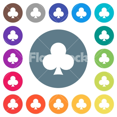 Club card symbol flat white icons on round color backgrounds - Club card symbol flat white icons on round color backgrounds. 17 background color variations are included.