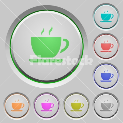Coffee push buttons - Coffee color icons on sunk push buttons - Free stock vector