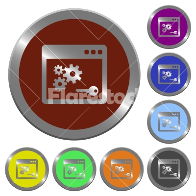 Color API key buttons - Set of color glossy coin-like Application programming interface key buttons.