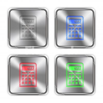 Color calculator steel buttons - Color calculator icons engraved in glossy steel push buttons.