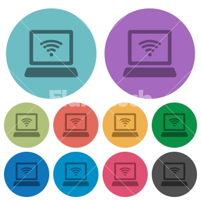 Color computer with wireless flat icons - Color computer with wireless flat icon set on round background.