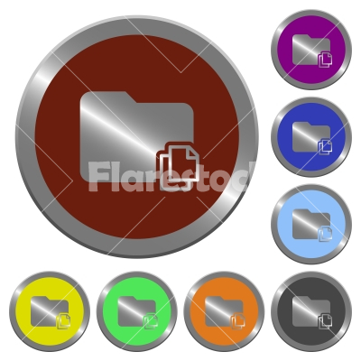 Color copy folder buttons - Set of color glossy coin-like copy folder buttons - Free stock vector