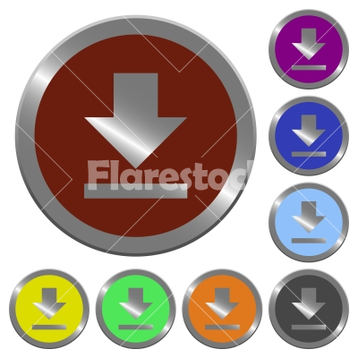 Color download buttons - Set of color glossy coin-like download buttons.