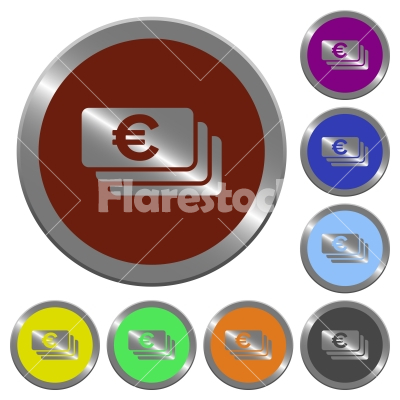 Color Euro banknotes buttons - Set of color glossy coin-like Euro banknotes buttons. - Free stock vector