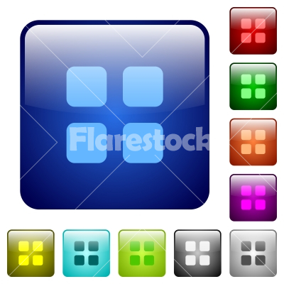 Color large grid view glass buttons - Set of color large grid view glass web buttons.