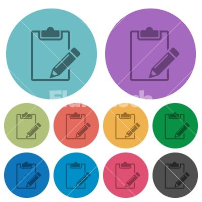 Color notepad flat icons - Color notepad flat icon set on round background.