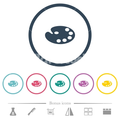 Color palette flat color icons in round outlines - Color palette flat color icons in round outlines. 6 bonus icons included.