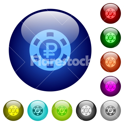 Color ruble casino chip glass buttons - Set of color ruble casino chip glass web buttons. - Free stock vector