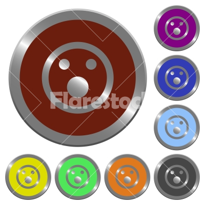 Color Shocked emoticon buttons - Set of color glossy coin-like Shocked emoticon buttons.