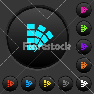 Color swatch dark push buttons with color icons - Color swatch dark push buttons with vivid color icons on dark grey background