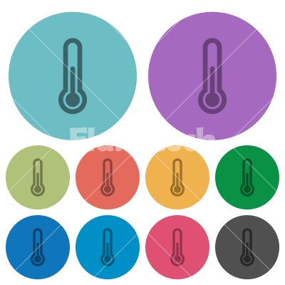 Color thermometer flat icons - Color thermometer flat icon set on round background.
