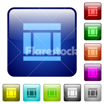 Color Three columned web layout square buttons - Set of Three columned web layout color glass rounded square buttons
