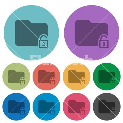 Color unlock folder flat icons - Color unlock folder flat icon set on round background.