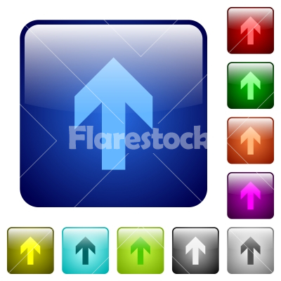 Color Up Arrow Square Buttons Stock Vector Flarestock