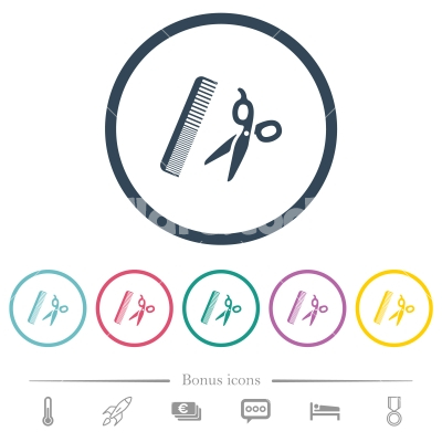Comb and scissors flat color icons in round outlines - Comb and scissors flat color icons in round outlines. 6 bonus icons included.