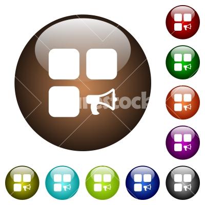 Component alarm color glass buttons - Component alarm white icons on round color glass buttons