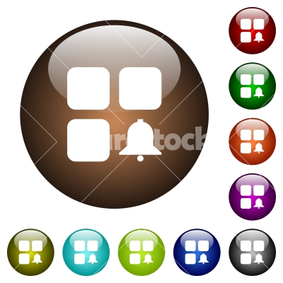 Component alert color glass buttons - Component alert white icons on round color glass buttons