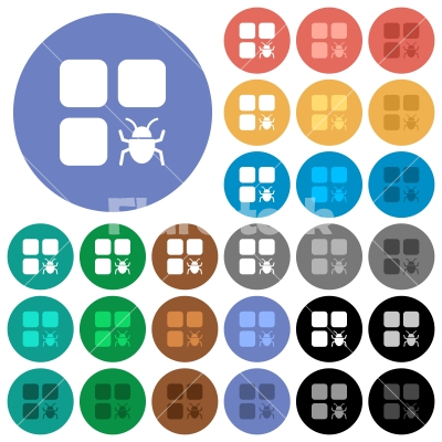 Component bug round flat multi colored icons - Component bug multi colored flat icons on round backgrounds. Included white, light and dark icon variations for hover and active status effects, and bonus shades on black backgounds.