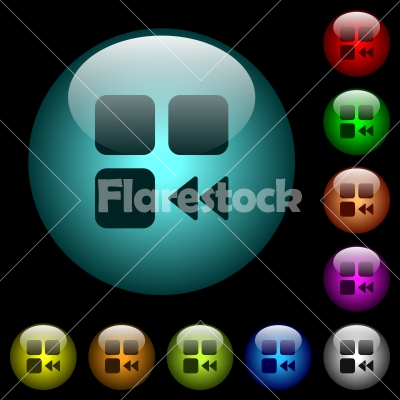 Component fast backward icons in color illuminated glass buttons - Component fast backward icons in color illuminated spherical glass buttons on black background. Can be used to black or dark templates