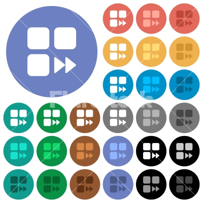 Component fast forward round flat multi colored icons - Component fast forward multi colored flat icons on round backgrounds. Included white, light and dark icon variations for hover and active status effects, and bonus shades on black backgounds.