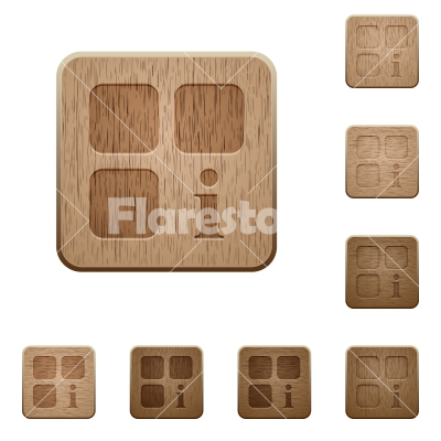 Component information wooden buttons - Component information on rounded square carved wooden button styles