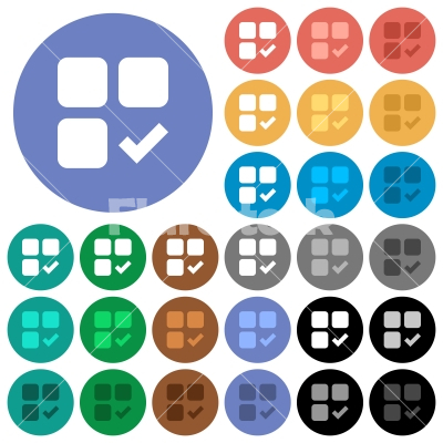 Component ok round flat multi colored icons - Component ok multi colored flat icons on round backgrounds. Included white, light and dark icon variations for hover and active status effects, and bonus shades on black backgounds.