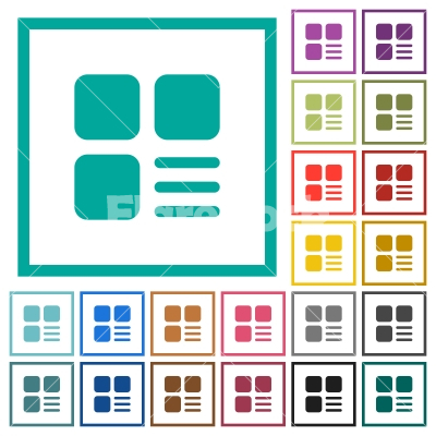 Component options flat color icons with quadrant frames - Component options flat color icons with quadrant frames on white background