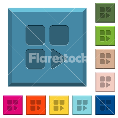 Component play engraved icons on edged square buttons - Component play engraved icons on edged square buttons in various trendy colors