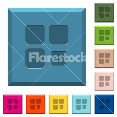 Component stop engraved icons on edged square buttons - Component stop engraved icons on edged square buttons in various trendy colors