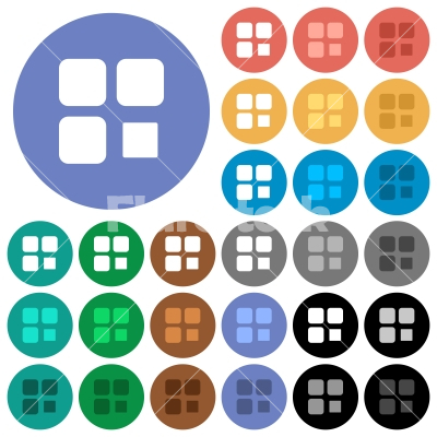 Component stop round flat multi colored icons - Component stop multi colored flat icons on round backgrounds. Included white, light and dark icon variations for hover and active status effects, and bonus shades on black backgounds.