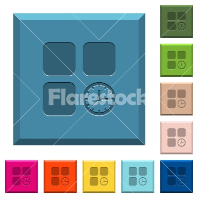 Component timer engraved icons on edged square buttons - Component timer engraved icons on edged square buttons in various trendy colors
